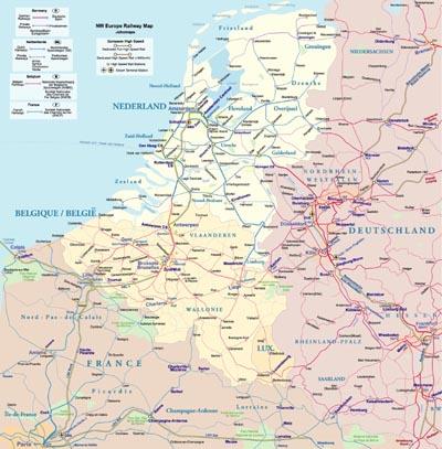 Rail Map of Northwest Europe - JohoMaps