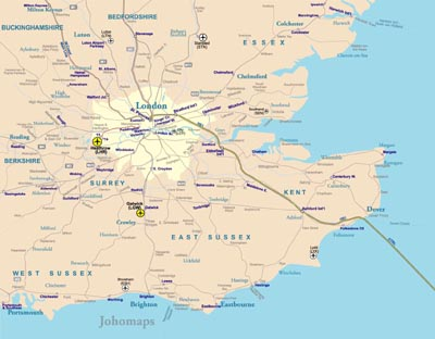 Map Of South England.Rail Map Of Southeast England Johomaps