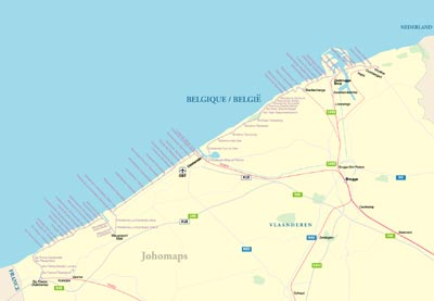 Map of Belgian Coast